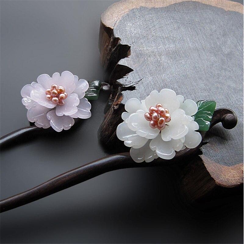 Handmade Ebony Hair Stick Fresh Water Pearl Azure Stone Flower Sticks Chinese Jewelry Vintage Hair Pin Hair Accessories WIGO0788