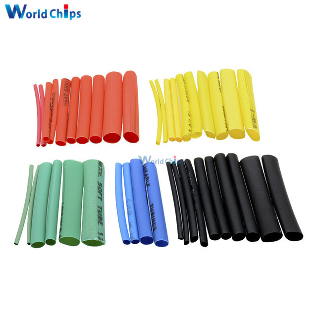 127/140/328/530Pcs Assorted Polyolefin Heat Shrink Tubing Tube Cable Sleeves Wrap Wire Set 8 Size Multicolor/Black 3