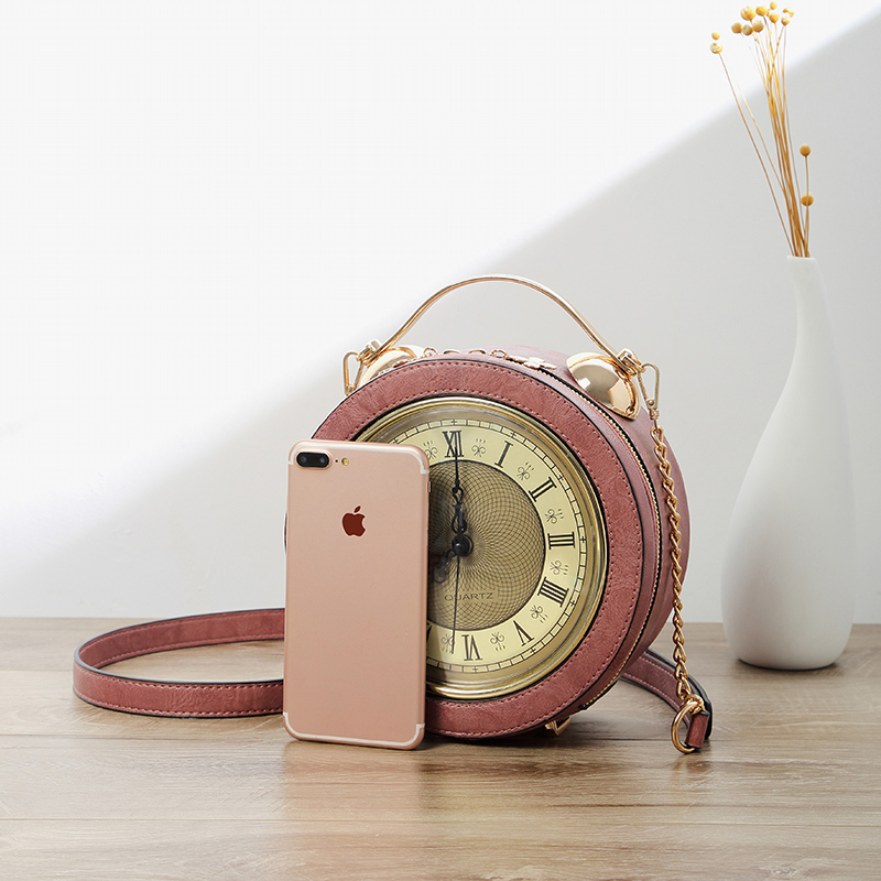 iPinee Women Leather Shoulder Messenger Bags Chain Clock Models Famous Cartoon Round Style Fashion 2018 Popular Crossbody Bags