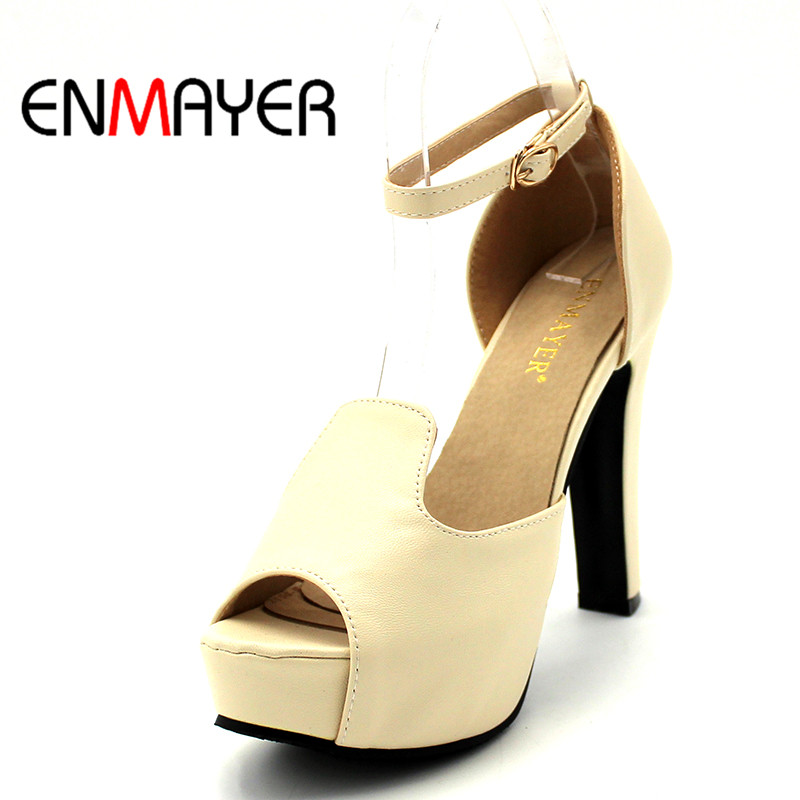 ENMAYER Peep Toe buckle platform Women Shoes High Heels Elegant Girls shoes Pink Beige Ankle Strap Charms Sandals Pumps lady elegant sexy big size 4 17rhinestone peep toe pu buckle strap thin high heels women shoes pumps sandals girls summer style