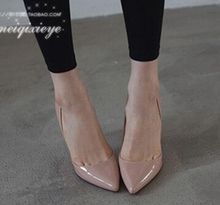 Manmitu-Envío gratis 2017 Zapatos de Novia Bombas de Las Mujeres de Corea Señora de la Oficina Moda Punta estrecha Tacones Nude Personalizar grande tamaño