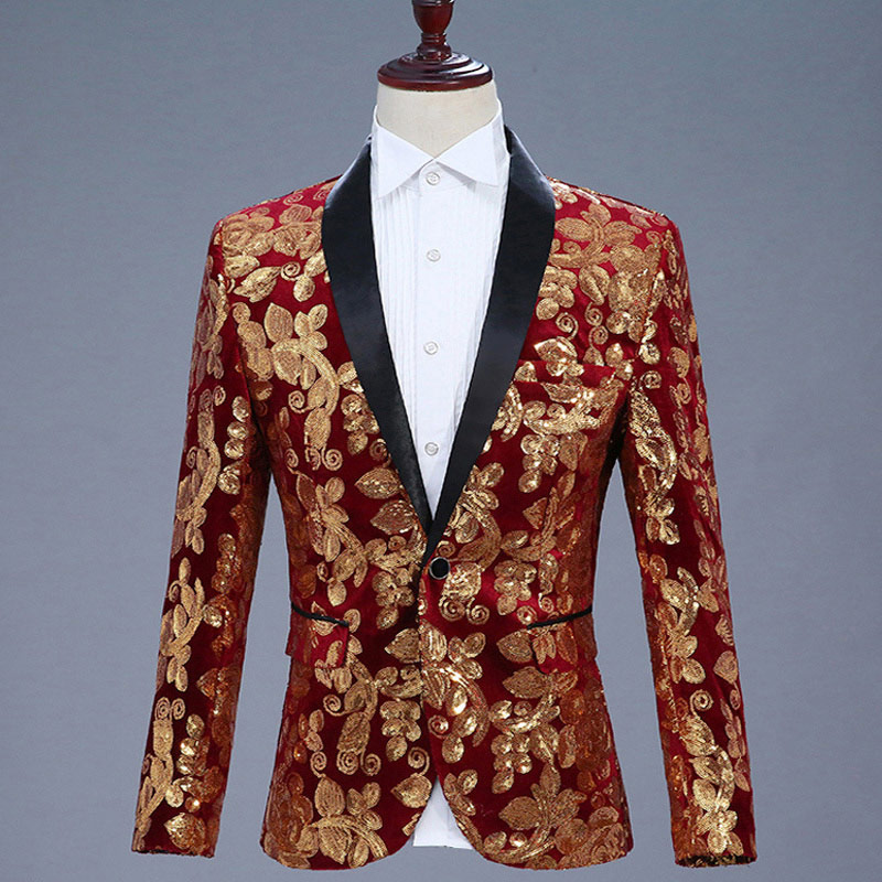 Stylish Floral Sequins Blazer Men Shawl Lapel Slim Fit Royal Blue Jackets  Suits Party DJ Nightclub Wedding Singer Costumes Homme fab1d250ec68