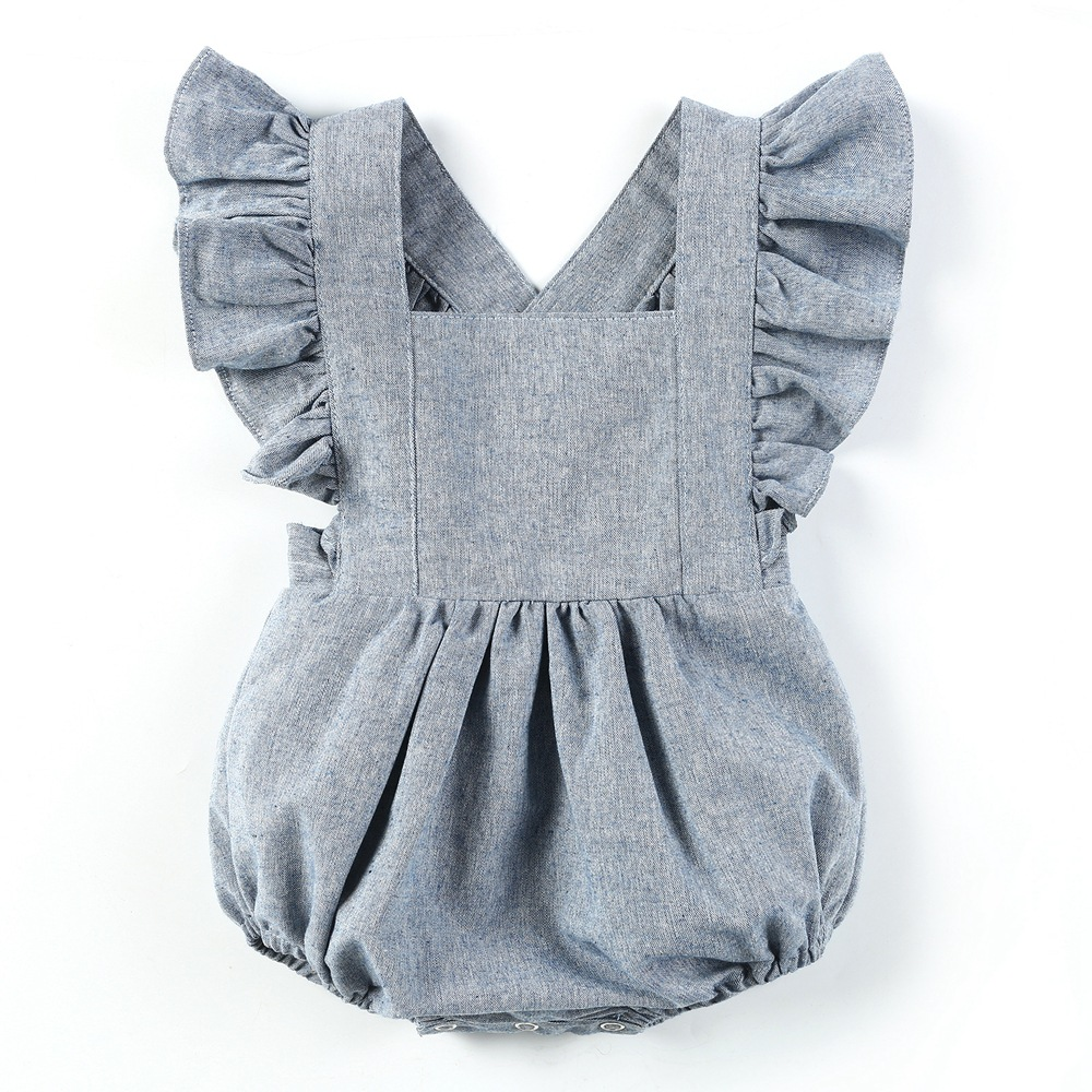 Ins Hot Toddler Baby Boys Girls Ruffles Rompers Blue Color Fly Sleeve Backless Summer Cute Infant Baby Clothes