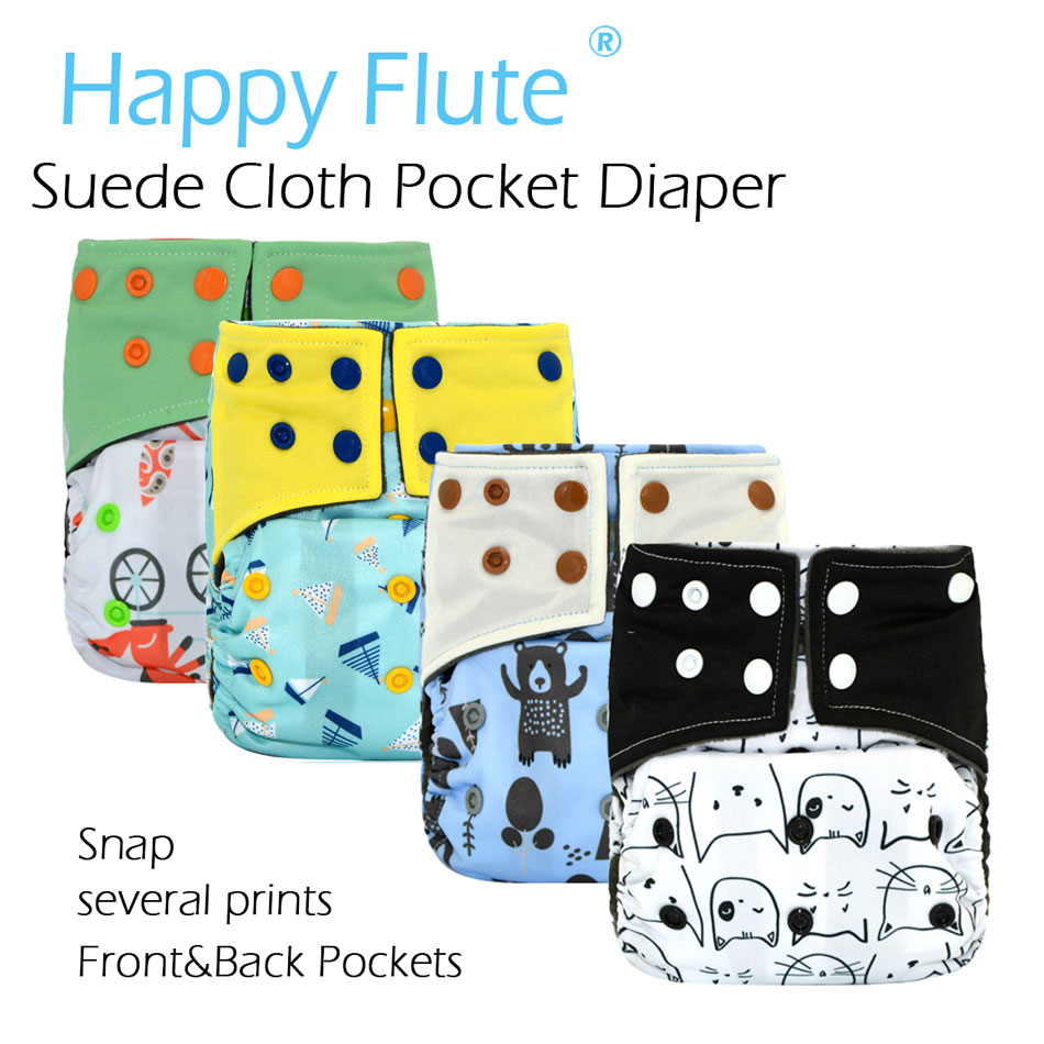 Happy Flute OS Suede Cloth Pocket Diaper,with Back And Front Pockets,waterproof And Breathable For 3-15kg Baby
