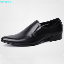 Brand 100% Genuine Leather Slip On Mens Dress Shoes Business High Quality Black Italian Pointy Wedding Shoe