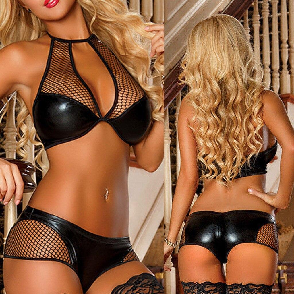 Women Underwear Faux Leather Strap Sexy  Lingerie Sleepwear Nightgown womens erotic underwear intimo donna sexy hot zebra underwear