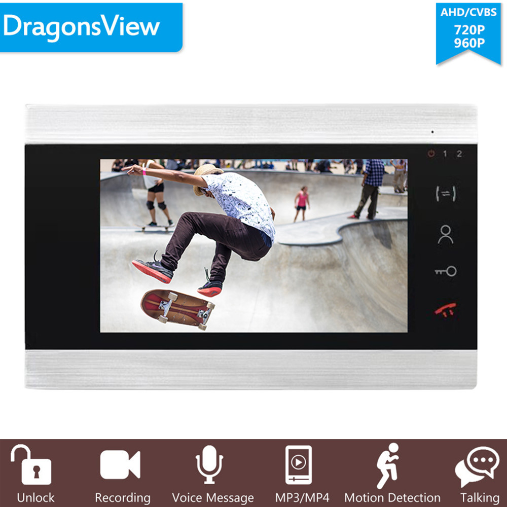 Dragonsview AHD 720/960P 4 Wire 7 Inch Indoor Monitor Video Door Phone Intercom CVBS /AHD Video Input Motion Detection Record