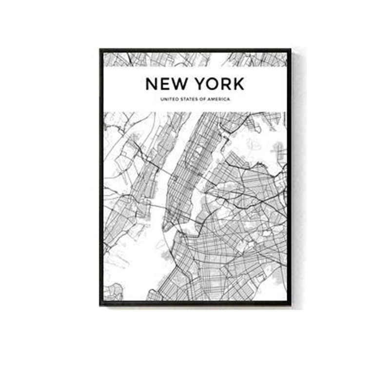 Black White World City Map Paris London New York Poster Nordic Style Living Room Wall Art Picture Home Decor Canvas Painting 1PC