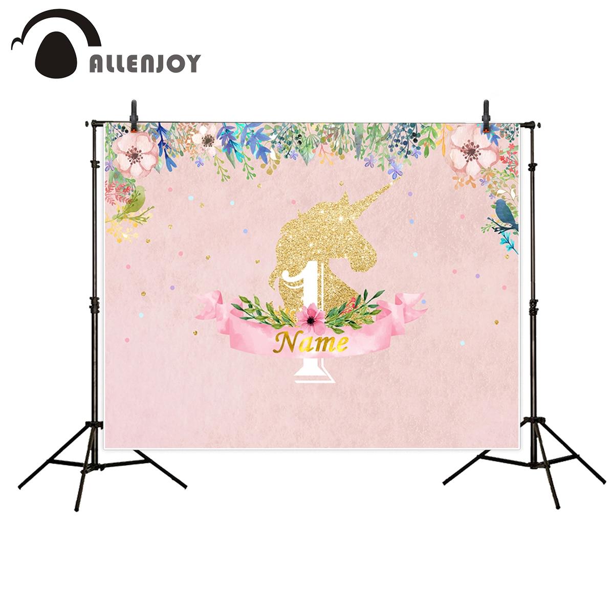allenjoy photographie toile de fond licorne rose fleur d 39 anniversaire th me parti photobooth. Black Bedroom Furniture Sets. Home Design Ideas
