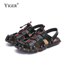 YIGER New men sandals outside beach male genuine leather slippers summer handmade large size leisure 288