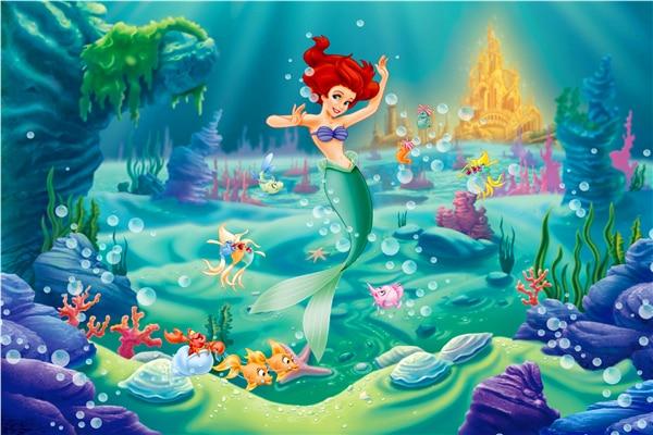 Custom Canvas Art The Little Mermaid Poster Little Mermaid Princess Wall  Stickers Mermaid Fairy Tale Wallpaper