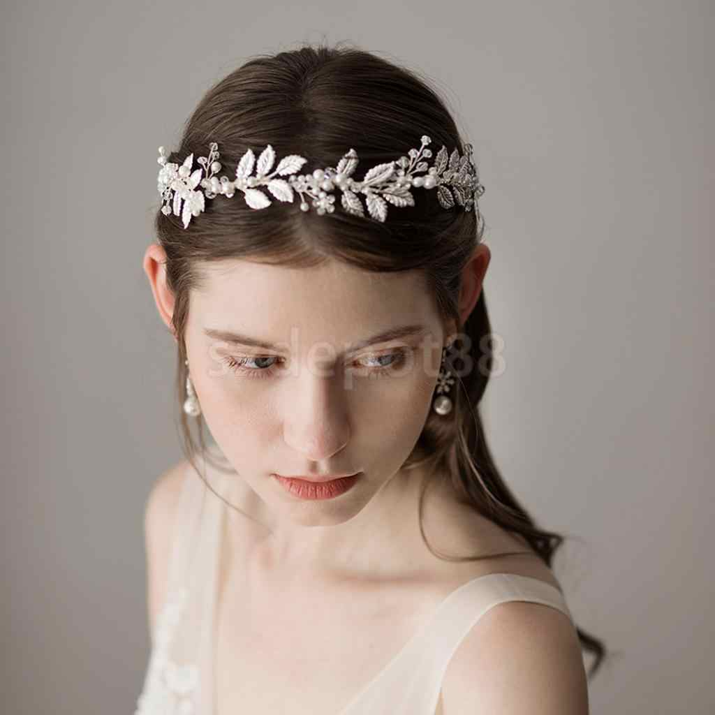 elegant retro wedding bridal hair band leaves pearls roman greek goddess headband party prom headpieces