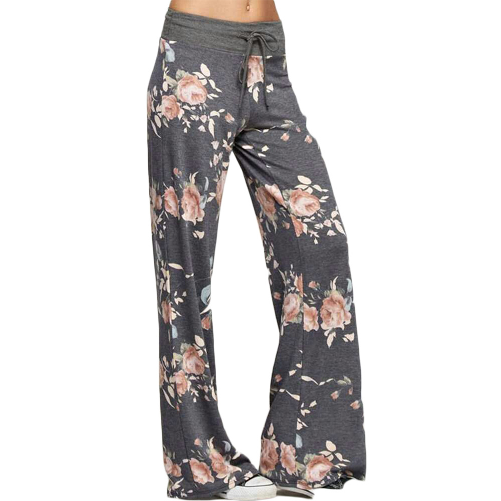 0c18d0722f9 Causal Women Autumn Flower Print Pants Drawstring Wide Leg Pants Loose  Straight Trousers Long Female Plus