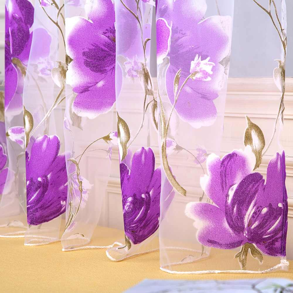 1x2M Tulle Curtains For Living Room Tulip Flower Sheer Curtain Pastoral Curtains for The Living Room Tulle Curtain Pink