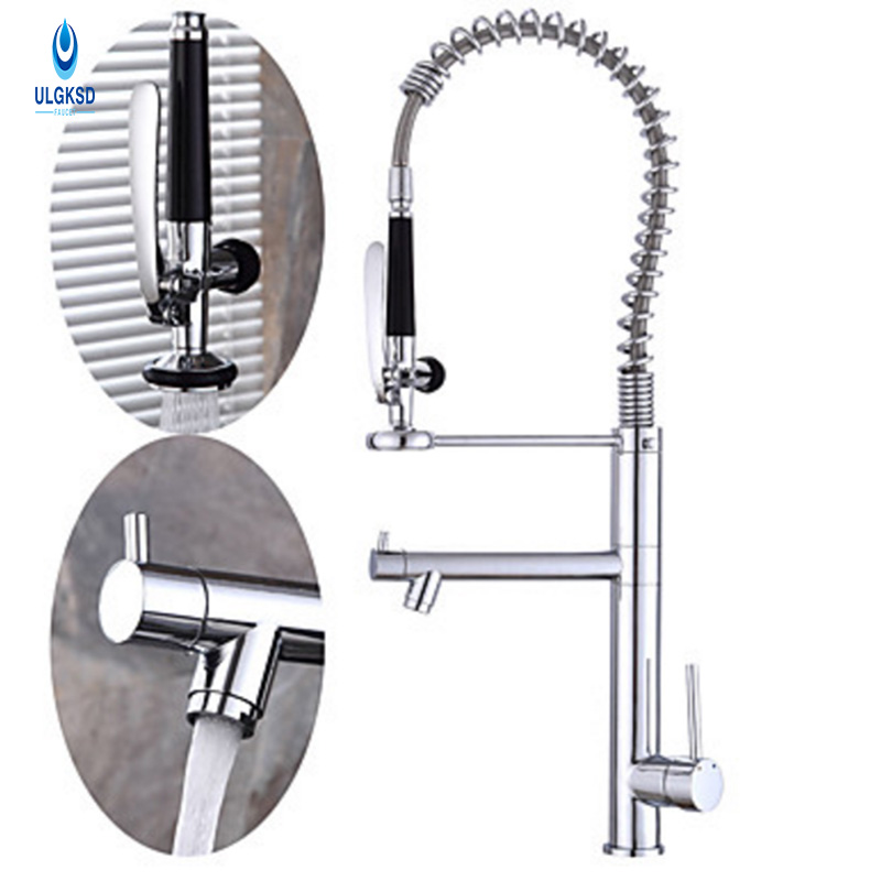 ULGKSD Brass Kitchen Faucet Chrome Spring Kitchen Sink Fauce Outlet Water Deck Mounted Hot or Cold