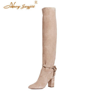 Knee High Boots Beige Apricot Womens Shoes Female Western Block Heeled Pointy Toe Plus Size 44 45 Slip-on Solid Fashion Spring