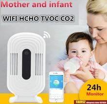 WIFI الذكية كاشف الغاز الفورمالديهايد الهواء جودة محلل HCHO TVOC CO2 ميزان الحرارة الرطوبة رصد ثاني أكسيد الكربون