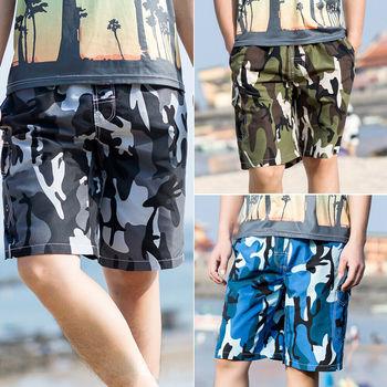 2019 Men's Camouflage Loose Beach Shorts Casual Shorts High Waist Board Shorts Beachwear Hawaiian style Shorts фото