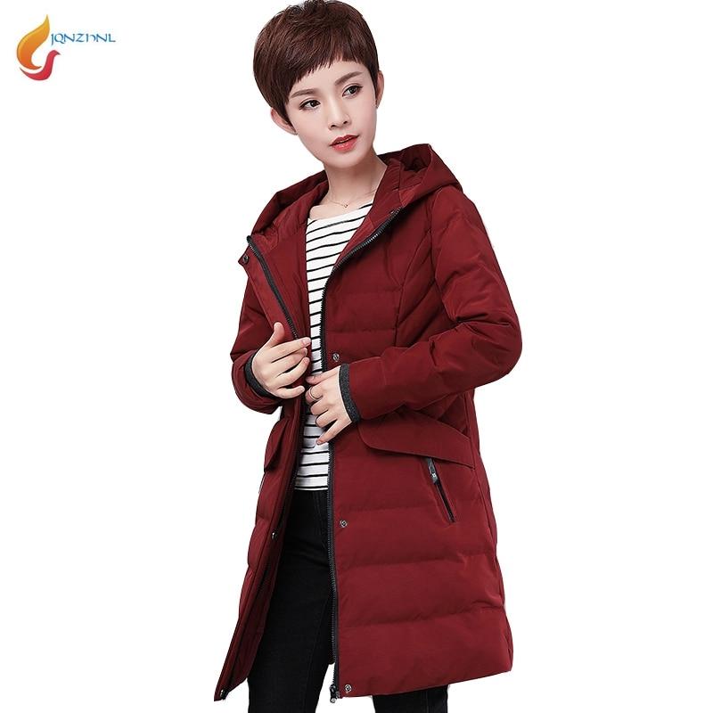 купить JQNZHNL Plus Size M-5XL Mid-aged Women Cotton Coats Parka 2017 New Winter Women Medium Long Loose Casual Cotton Jacket Coat L836 недорого