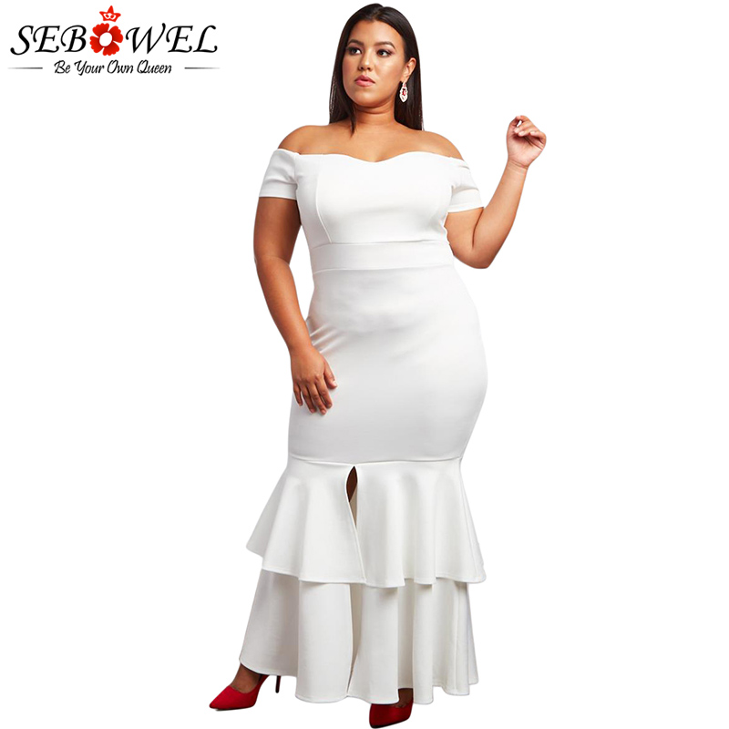 5a395fbdd37 SEBOWEL Elegant Plus Size Red Bodycon Party Dress Women Sexy Off Shoulder  Maxi Dress Big Size Formal Strapless Evening Gown-in Dresses from Women s  Clothing ...