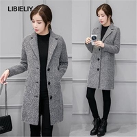 Nice New Women Suit Collar Wool Woolen Coat Slim Long Cocoon type Windbreaker Jacket Female Tide Single Breasted Coat