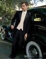Chegada nova Custom Made Casamento Preto Smoking (Brasão + Calça + Colete + Gravata) Ternos Do Noivo dos homens manhã Vestido de Casamento Ternos Slim Fit Blazer
