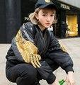 [XITAO] 2016 Europa de la manera estilo de La Calle de las mujeres de algodón acolchado bordado ocasional remache patchwork chaqueta corta capa populares DT001