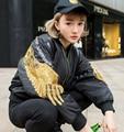[XITAO] 2016 Europa mulheres estilo moda de Rua de algodão-acolchoado casual bordado rebite patchwork jaqueta curta casaco populares DT001