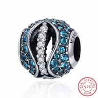 Authentic 925 Sterling Silver Rhyme Of Gem Dazzling CZ Beads fit Original Charm Bracelet DIY Fine jewelry S925 SCC334