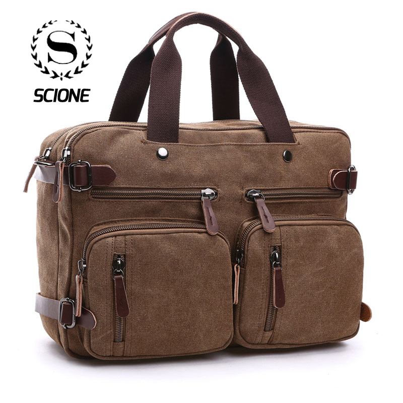 Scione Men Canvas Bag Leather Briefcase Travel Suitcase Messenger Shoulder Tote Back Handbag Large Casual Business Laptop Pocket(China)
