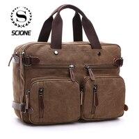 Scione Мужская холщовая кожаная сумка чемодан Дорожный чемодан сумка через плечо задняя Сумка Большая Повседневная деловая сумка для ноутбук...