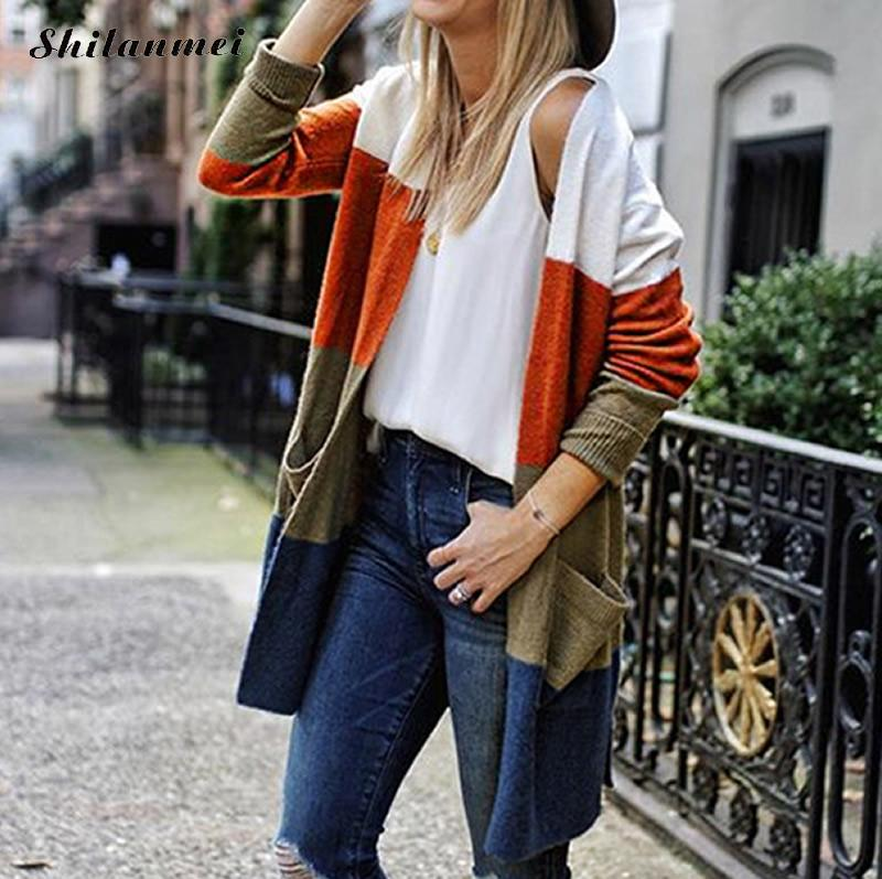 Women's Striped Long Sweater Cardigans 2018 Autumn Winter Female Fashion Outwears Ladies Loose Colorful Panelled Knitwear Coats