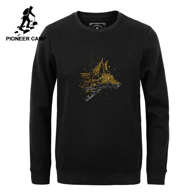 بايونير كامب جديد ثياب الشتاء بقلنسوة البلوز الرجال ماركة الملابس الكاجوال الذئب طباعة الدافئة الصوف بلوزات الذكور جودة AWY802346