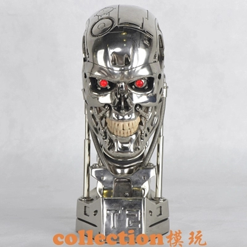 Hot NEW 1:1 Terminator T800 T2 Skull Endoskeleton Lift-Size Bust Figure Resin Replica LED EYE Best Quality WU562