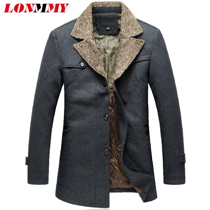 LONMMY 7XL 8XL Lapel collar Trench coat men 65% Wool windbreaker Casual Blends mens overcoat Woolen Gray Black 201 Autumn Winter
