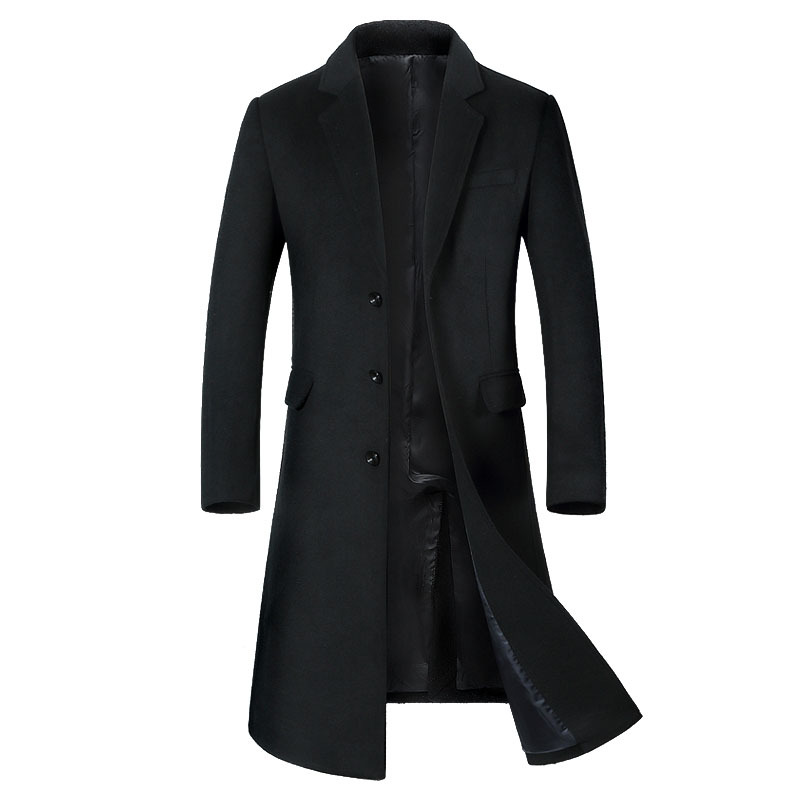 Autumn and winter wool coat men's and Korean version of the body repair long paint coat men's coat(China)