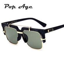 Pop Edad Wholesale Fashion Square Gafas de Sol Hombres Mujeres Semi-Sin Montura Gafas de Sol de Diseñador de la Marca Gafas de sol gafas oculos UV400