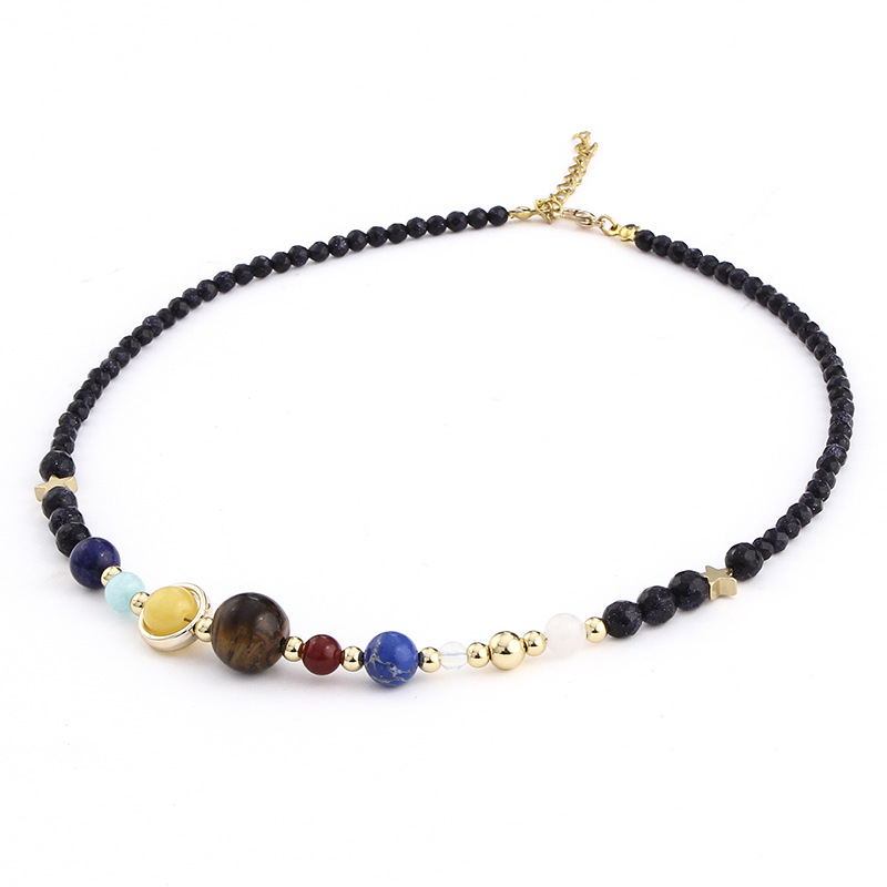Sedmart Universe Galaxy The Eight Planets in the Solar System Guardian Star Natural Stone Beads Handmade Necklace For Women