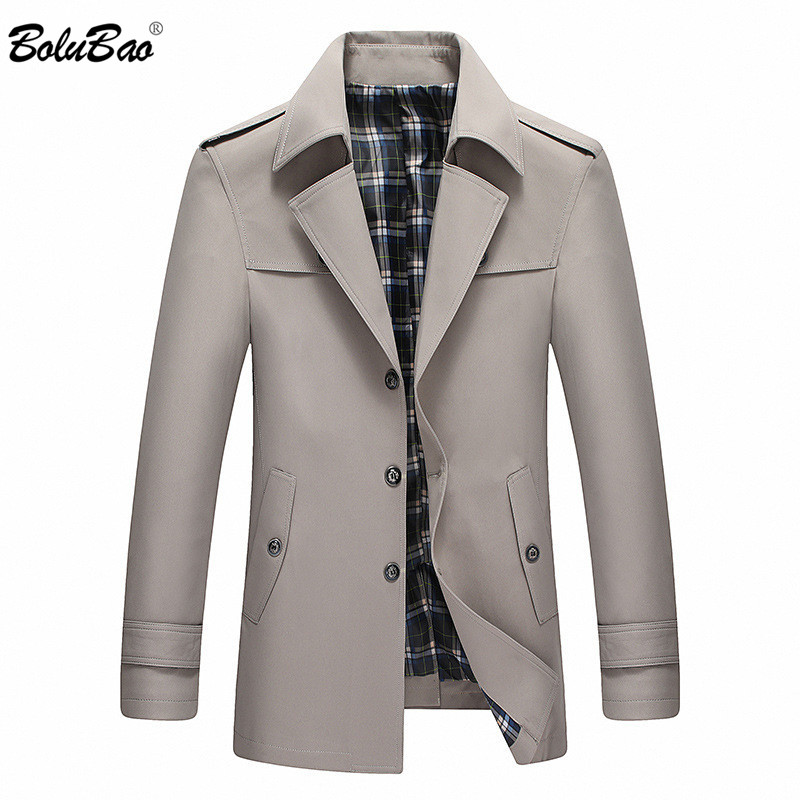 BOLUBAO Men Spring Autumn Trench Coat Men New Turn down Collar Solid Color Long Trench Coat Male Casual Windbreaker Overcoat-in Trench from Men's Clothing    1