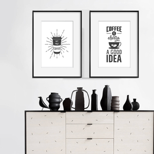 Image 4 - Coffee is Always a Good Idea Kitchen Wall Art Canvas Painting Nordic Black and White Poster for Home Decor Pictures Unframed