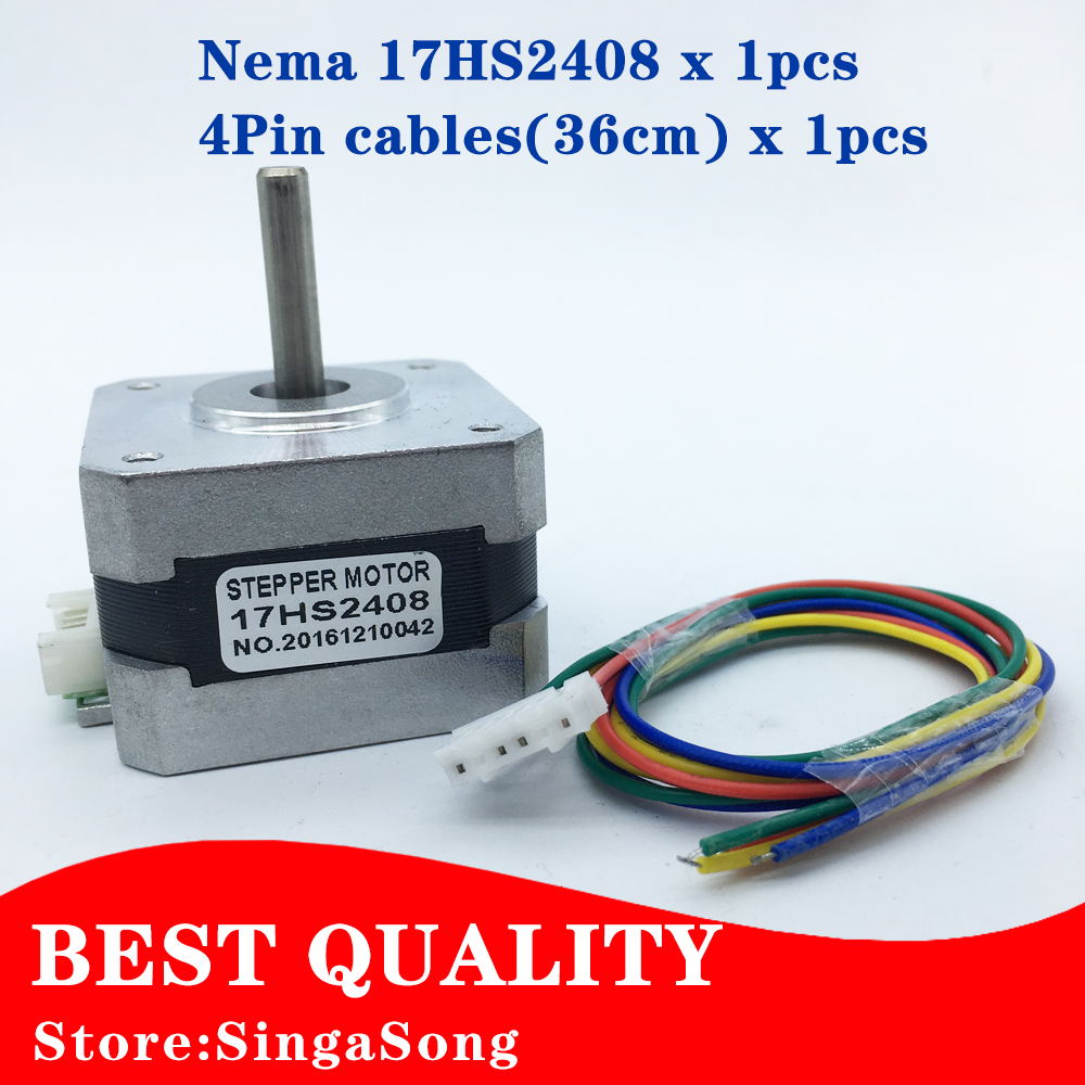 Free shipping 17HS2408 4-lead Nema 17 Stepper Motor 42 motor 42BYGH 0.6A CE ROSH ISO CNC Laser and 3D printer