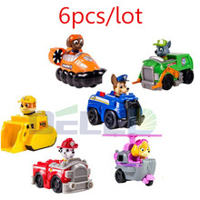 2016 Hot 6pcs/set Patrol Puppy Toy Russian Anime Doll Action Figures Car Patrol Puppy Toy for Kids Toys