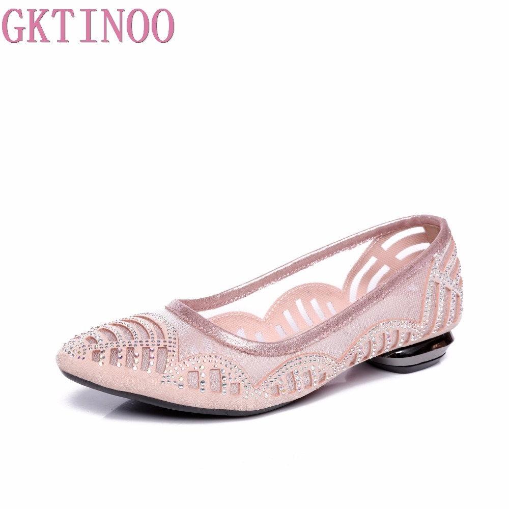 GKTINOO Summer Spring Soft Genuine Leather Flats Shoes Women Sandals Breathable Shoes Hollow Out Casual Women