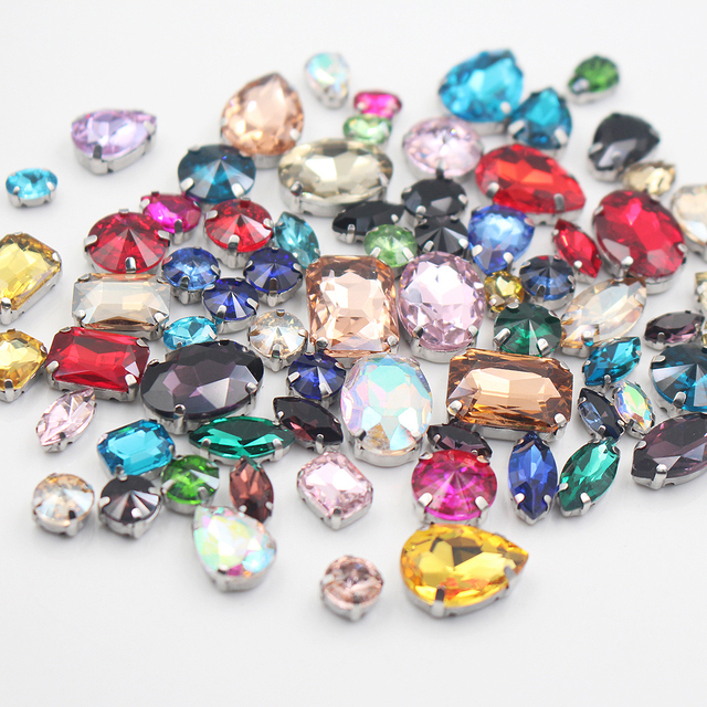 50pcs lot Multiple Color Size Mixed Metal Base Sewing Rhinestone Glass  Stones And Crystals Strass b2a85a716e61