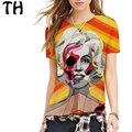2016 Mona Lisa Pintura A Óleo Personagem Sexy Camiseta Mulheres Personalidade Do Punk Harajuku 3D camisas Casual T Top Femme Camisetas
