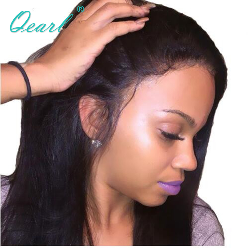 Qearl Hair Brazilian Remy Hair Lace Front Human Hair Wig Silky Straight Lace Wigs Baby Hair Pre Plucked Hairline Full End