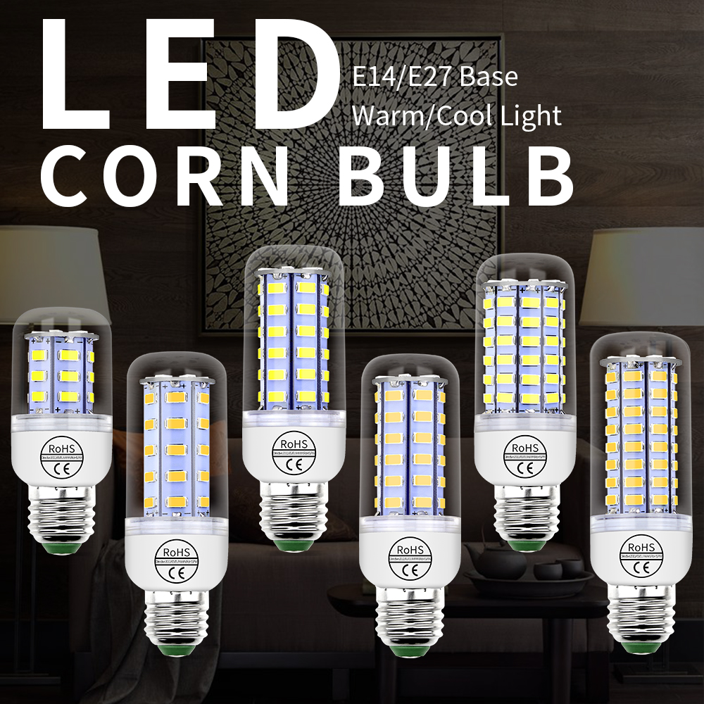 E27 LED Corn Light E14 Candle Lamp 24 36 48 56 69 72leds 220V Lampara Led Bulb for Home SMD 5730 Kitchen Ceiling Lustre Lighting