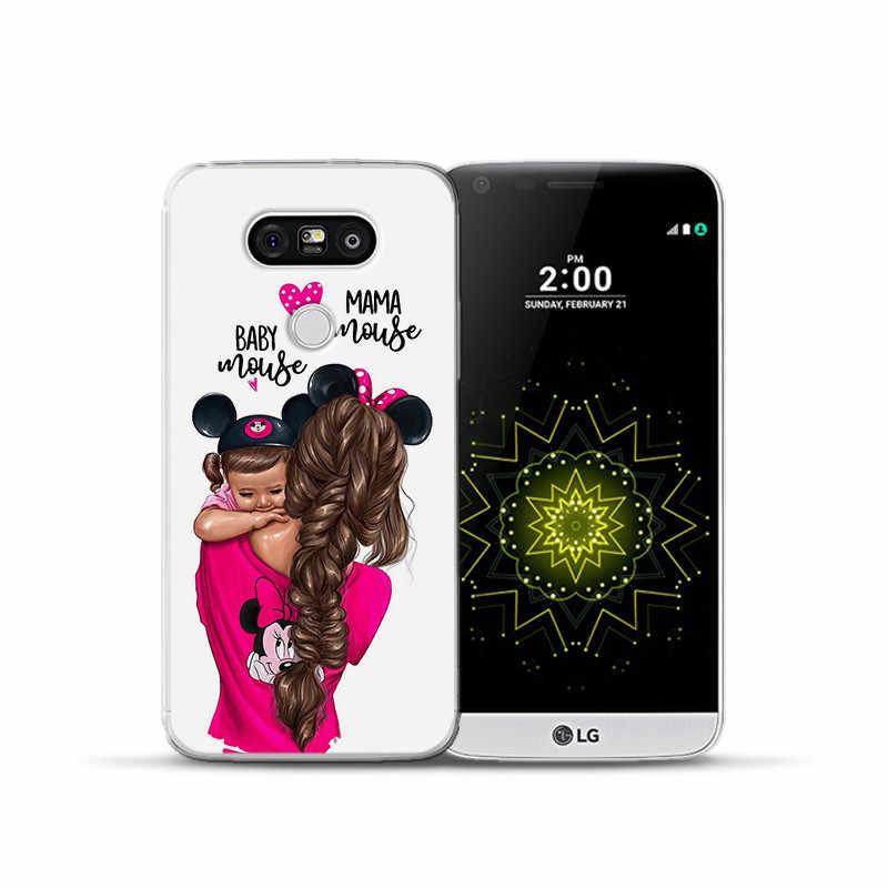 الفاخرة الكرتون الطفل أمي فتاة الملكة امرأة ل LG G 4 5 6 Q 6 8 K 4 7 8 10 2017 X الطاقة 2 شاشة غطاء إطار هاتف محمول Funda Coque eتوي
