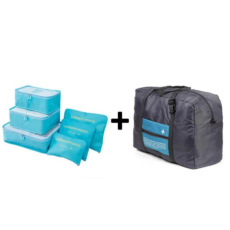 IUX 6PCS/Set High Quality Oxford Cloth Travel Mesh Bag Luggage Organizer Packing Cube Organiser Travel Bags Luggage Bags