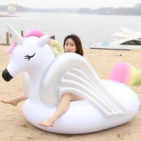 275CM Giant Inflatable unicorn Rainbow horse Pool Float swimming circle Air Mattress water toys for child adult kids beach party